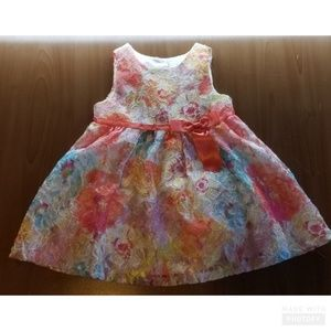 Rare Editions Quilted Multi Colored Pink Bow Dress